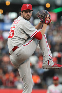 Jul 10, 2015; San Francisco, CA, USA; Philadelphia Phillies starting pitcher Cole Hamels (35) throws to the San Francisco Giants in the first inning of their MLB baseball game at AT&T Park. Mandatory Credit: Lance Iversen-USA TODAY Sports