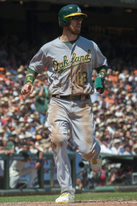 Jul 26, 2015; San Francisco, CA, USA; Oakland Athletics left fielder Ben Zobrist (18) crosses home plate after an rbi single by third baseman Brett Lawrie (not pictured) during the fourth inning against the San Francisco Giants at AT&T Park. Mandatory Credit: Ed Szczepanski-USA TODAY Sports