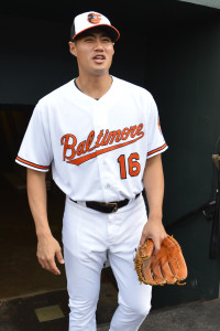 May 11, 2015; Baltimore, MD, USA; Baltimore Orioles starting pitcher Wei-Yin  Chen (16) walks onto the field before the game against the Toronto Blue Jays at Oriole Park at Camden Yards. Baltimore Orioles are wearing Baltimore on their home jersey's in support of the city after the recent unrest.  Mandatory Credit: Tommy Gilligan-USA TODAY Sports