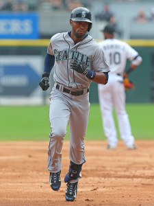 Aug 30, 2015; Chicago, IL, USA; Seattle Mariners center fielder Austin Jackson (16) runs the bases after hitting a two RBI home run during the second inning against the Chicago White Sox at U.S Cellular Field. Mandatory Credit: Dennis Wierzbicki-USA TODAY Sports