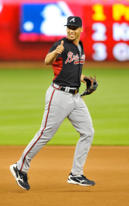 Sep 26, 2015; Miami, FL, USA; Atlanta Braves shortstop Andrelton Simmons (19) laughs while taking infield practice before a game against the Miami Marlins at Marlins Park. Mandatory Credit: Steve Mitchell-USA TODAY Sports