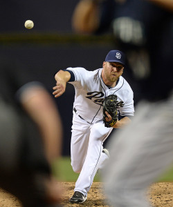 Jun 30, 2015; San Diego, CA, USA; San Diego Padres relief pitcher <a rel=