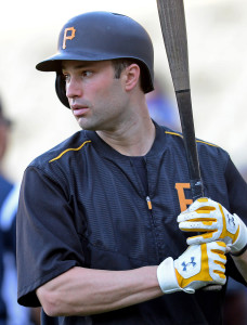 Sep 18, 2015; Los Angeles, CA, USA; Pittsburgh Pirates second baseman Neil Walker (18) takes batting practice before the game against the Los Angeles Dodgers at Dodger Stadium. Mandatory Credit: Jayne Kamin-Oncea-USA TODAY Sports