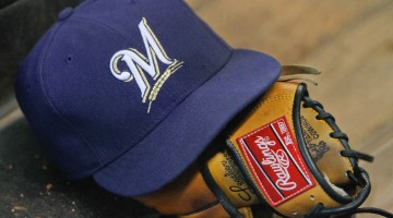 July 7, 2012; Houston, TX, USA; Milwaukee Brewers hat and glove in dugout during a game against the Houston Astros in the third inning at Minute Maid Park. Mandatory Credit: Brett Davis-USA TODAY Sports
