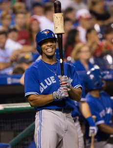 Aug 18, 2015; Philadelphia, PA, USA; Toronto Blue Jays left fielder Ben Revere (7) smiles as he waits to bat Philadelphia Phillies at Citizens Bank Park. The Blue Jays won 8-5. Mandatory Credit: Bill Streicher-USA TODAY Sports