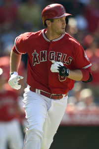 IJul 20, 2015; Anaheim, CA, USA; Los Angeles Angels third baseman David Freese (6) runs towards first after hitting a home run against the Boston Red Sox during the fourth inning at Angel Stadium of Anaheim. Mandatory Credit: Kelvin Kuo-USA TODAY Sports
