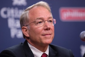 Oct 26, 2015; Philadelphia, PA, USA; Philadelphia Phillies president Andy MacPhail during a press conference to introduce new general manager Matt Klentak (not pictured) at Citizens Bank Park. Mandatory Credit: Bill Streicher-USA TODAY Sports