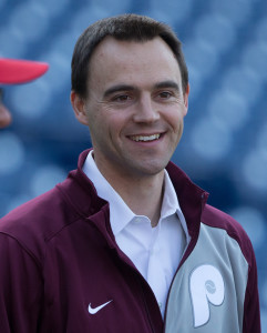Apr 15, 2016; Philadelphia, PA, USA; Philadelphia Phillies general manager Matt Klentak before a game against the Washington Nationals at Citizens Bank Park. Mandatory Credit: Bill Streicher-USA TODAY Sports