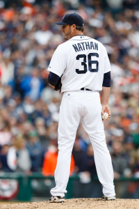 Apr 6, 2015; Detroit, MI, USA; Detroit Tigers relief pitcher Joe Nathan (36) gets set to pitch against the Minnesota Twins at Comerica Park. Mandatory Credit: Rick Osentoski-USA TODAY Sports