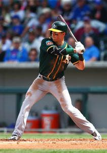 Mar 29, 2016; Mesa, AZ, USA; Oakland Athletics outfielder Chris Coghlan against the Chicago Cubs during a spring training game at Sloan Park. Mandatory Credit: Mark J. Rebilas-USA TODAY Sports