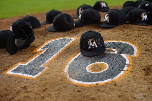 Sep 26, 2016; Miami, FL, USA; Hats of the Miami Marlins lay on the pitchers mound after the game to honor teammate starting pitcher Jose Fernandez at Marlins Park. Mandatory Credit: Jasen Vinlove-USA TODAY Sports