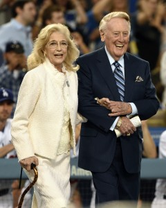 Sep 23, 2016; Los Angeles, CA, USA; American broadcaster Vin Scully (right) is introduced with wife Sandra Scully (left) for Vin Scully appreciation night prior to the game between the Los Angeles Dodgers and Colorado Rockies at Dodger Stadium. Mandatory Credit: Kelvin Kuo-USA TODAY Sports