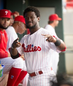 Aug 19, 2016; Philadelphia, PA, USA; Philadelphia Phillies center fielder Odubel Herrera (37) before action against the St. Louis Cardinals at Citizens Bank Park. Mandatory Credit: Bill Streicher-USA TODAY Sports