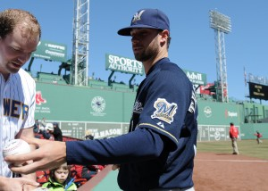 Apr 6, 2014; Boston, MA, USA; Milwaukee Brewers relief pitcher Tyler Thornburg (30) signs an autograph prior to a game against the Boston Red Sox at Fenway Park. Mandatory Credit: Bob DeChiara-USA TODAY Sports