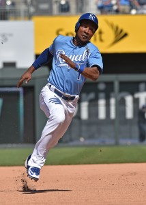 Jul 20, 2016; Kansas City, MO, USA; Kansas City Royals base runner Jarrod Dyson (1) runs to third base against the Cleveland Indians during the eighth inning at Kauffman Stadium. Mandatory Credit: Peter G. Aiken-USA Today Sports