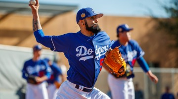 Feb 16, 2017; Glendale, AZ, USA; Los Angeles Dodgers pitcher Sergio Romo during a Spring Training practice at Camelback Ranch. Mandatory Credit: Mark J. Rebilas-USA TODAY Sports