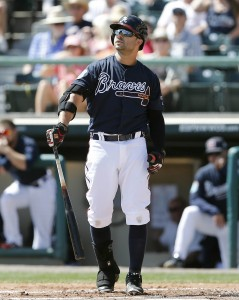 Mar 8, 2016; Lake Buena Vista, FL, USA; Atlanta Braves left fielder Nick Swisher (23) watches his ball fly during the second inning of a spring training baseball game against the New York Mets at Champion Stadium. Mandatory Credit: Reinhold Matay-USA TODAY Sports