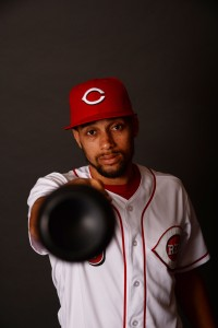 Feb 18, 2017; Goodyear, AZ, USA; Cincinnati Reds center fielder Billy Hamilton (6) poses for a photo during Spring Training Media Day at the Cincinnati Reds Player Development Complex. Mandatory Credit: Joe Camporeale-USA TODAY Sports
