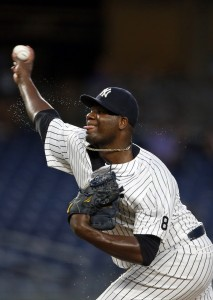 Sep 9, 2016; Bronx, NY, USA; New York Yankees starting pitcher Michael Pineda (35) delivers a pitch during the first inning against the Tampa Bay Rays at Yankee Stadium. Mandatory Credit: Adam Hunger-USA TODAY Sports