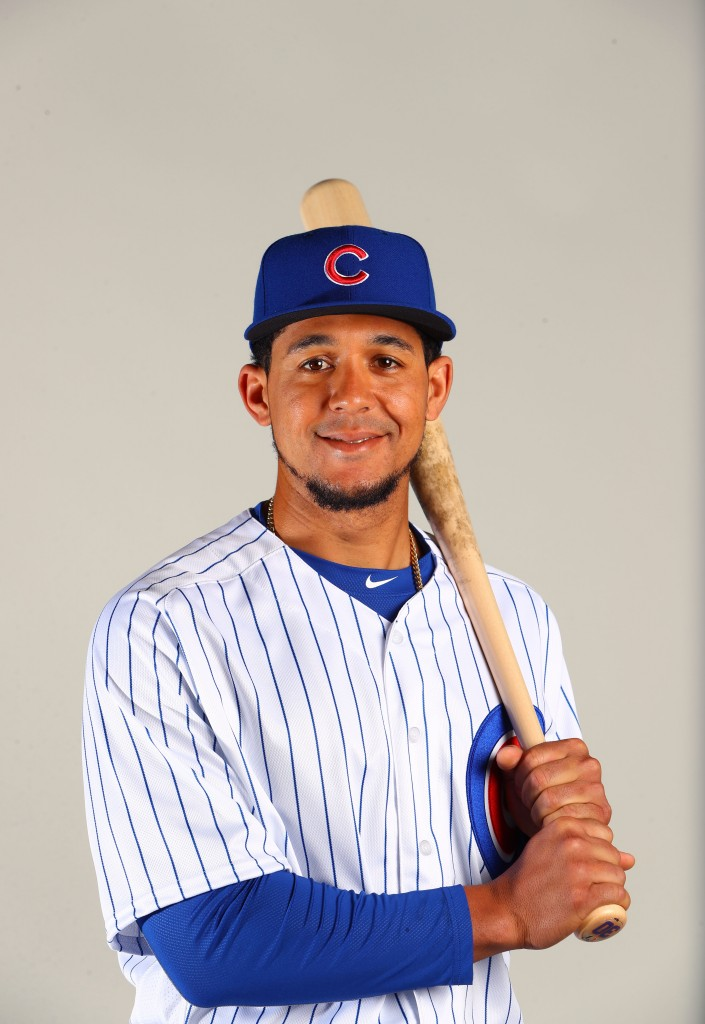 Feb 21, 2017; Mesa, AZ, USA; Chicago Cubs outfielder Jon Jay poses for a portrait during photo day at Sloan Park. Mandatory Credit: Mark J. Rebilas-USA TODAY Sports