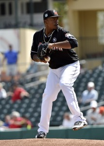 Mar 6, 2017; Jupiter, FL, USA; Miami Marlins starting pitcher Edinson Volquez (36) delivers a pitch against the New York Mets during a spring training game at Roger Dean Stadium. Mandatory Credit: Steve Mitchell-USA TODAY Sports