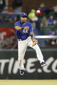 Apr 5, 2017; Arlington, TX, USA; Texas Rangers shortstop Elvis Andrus (1) throws to first in the fifth inning against the Cleveland Indians at Globe Life Park in Arlington. Mandatory Credit: Tim Heitman-USA TODAY Sports