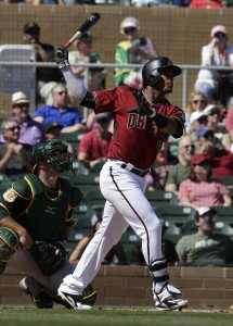 Mar 7, 2017; Salt River Pima-Maricopa, AZ, USA; Arizona Diamondbacks shortstop Ketel Marte (4) hits a three run homerun against the Oakland Athletics in the first inning during a spring training game at Salt River Fields at Talking Stick. Mandatory Credit: Rick Scuteri-USA TODAY Sports