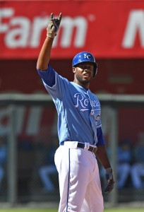 May 6, 2017; Kansas City, MO, USA; Kansas City Royals center fielder Lorenzo Cain (6) reacts after hitting a double against the Cleveland Indians during the fourth inning at Kauffman Stadium. Mandatory Credit: Peter G. Aiken-USA TODAY Sports