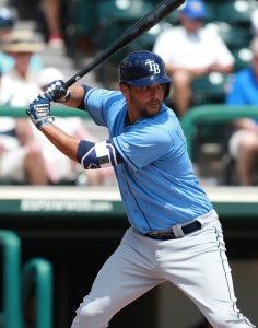 Apr 1, 2016; Lake Buena Vista, FL, USA; Tampa Bay Rays first baseman Patrick Leonard (61) at bat at Champion Stadium. Mandatory Credit: Kim Klement-USA TODAY Sports