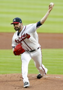 Apr 17, 2017; Atlanta, GA, USA; Atlanta Braves starting pitcher Jaime Garcia (54) throws a pitch against the San Diego Padres in the first inning at SunTrust Park. Mandatory Credit: Brett Davis-USA TODAY Sports