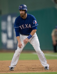 Jul 25, 2017; Arlington, TX, USA; Texas Rangers catcher Jonathan Lucroy (25) in action during the game against the Miami Marlins at Globe Life Park in Arlington. The Rangers defeat the Marlins 10-4. Mandatory Credit: Jerome Miron-USA TODAY Sports