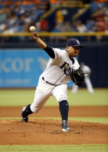 Jun 21, 2017; St. Petersburg, FL, USA; Tampa Bay Rays relief pitcher Erasmo Ramirez (30) throws a pitch during the third inning against the Cincinnati Reds at Tropicana Field. Mandatory Credit: Kim Klement-USA TODAY Sports