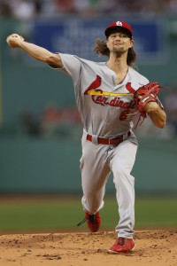 Aug 15, 2017; Boston, MA, USA; St. Louis Cardinals pitcher Mike Leake (8) delivers a pitch during the first inning against the Boston Red Sox at Fenway Park. Mandatory Credit: Greg M. Cooper-USA TODAY Sports