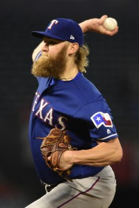 Aug 23, 2017; Anaheim, CA, USA; Texas Rangers starting pitcher Andrew Cashner (54) pitches against the Los Angeles Angels during the first inning at Angel Stadium of Anaheim. Mandatory Credit: Kelvin Kuo-USA TODAY Sports