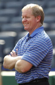 Aug 18, 2014; Pittsburgh, PA, USA; Pittsburgh Pirates general manager Neal Huntington reacts while watching batting practice before the Pirates host the Atlanta Braves at PNC Park. Mandatory Credit: Charles LeClaire-USA TODAY Sports