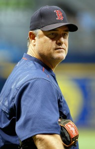 Sep 15, 2017; St. Petersburg, FL, USA; Boston Red Sox manager John Farrell (53) prior to the game against the Tampa Bay Rays at Tropicana Field. Mandatory Credit: Kim Klement-USA TODAY Sports
