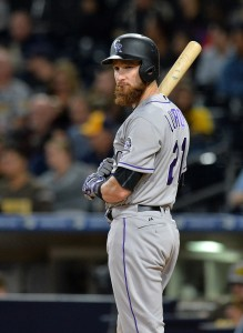Sep 22, 2017; San Diego, CA, USA; Colorado Rockies catcher Jonathan Lucroy (21) at bat during the seventh inning against the San Diego Padres at Petco Park. Mandatory Credit: Jake Roth-USA TODAY Sports