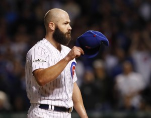 Oct 18, 2017; Chicago, IL, USA; Chicago Cubs starting pitcher Jake Arrieta removes his cap as he is relieved in the seventh inning against the Los Angeles Dodgers in game four of the 2017 NLCS playoff baseball series at Wrigley Field. Mandatory Credit: Jim Young-USA TODAY Sports