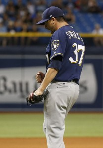 Aug 5, 2017; St. Petersburg, FL, USA; Milwaukee Brewers relief pitcher Anthony Swarzak (37) pumps his fist and celebrates as they beat the Tampa Bay Rays at Tropicana Field. Mandatory Credit: Kim Klement-USA TODAY Sports