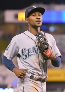 Aug 3, 2017; Kansas City, MO, USA; Seattle Mariners center fielder Jarrod Dyson (1) returns to the dugout in between innings during the game against the Kansas City Royals at Kauffman Stadium. Mandatory Credit: Denny Medley-USA TODAY Sports