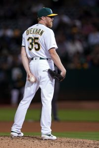 Jake Diekman | Aug 3, 2019; Oakland, CA, USA; Oakland Athletics relief pitcher Jake Diekman (35) stands on the mound during the seventh inning against the St. Louis Cardinals at Oakland Coliseum. Mandatory Credit: Darren Yamashita-USA TODAY Sports